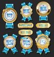 collection golden badges labels laurels shield vector image vector image