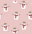 cute christmas seamless pattern with snowmen vector image