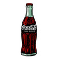 drawing classic bottle coca-cola on white vector image vector image
