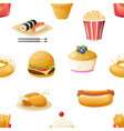 fast food icons symbols realistic cartoon seamless vector image
