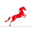 flat colorful continuous line red horse concept vector image vector image