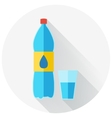 Flat design of water bottle and glass of water vector image vector image