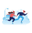 flat happy couple in winter clothes skating on ice vector image vector image