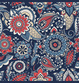 floral paisley seamless pattern with colorful folk vector image vector image