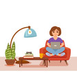 freelancer happy young woman working on the arm vector image