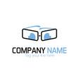 geek glasses logo vector image vector image
