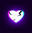 glitch heart broken distorted neon love on modern vector image vector image