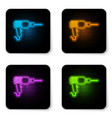 glowing neon drill machine icon isolated on white vector image