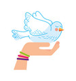 hand human with cute dove vector image vector image