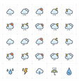 icon set - weather and forecast full-color icon vector image vector image