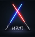 neon light swords crossed light sabers isolated vector image