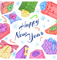 new year or christmas gifts frame or vector image