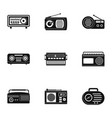 radio icons set simple style vector image