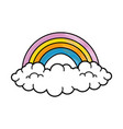 rainbow with clouds icon vector image vector image