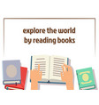 reading books poster design with flat books and vector image vector image