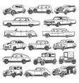retro vintage cars icons set old vehicles vector image