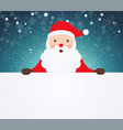santa claus pointing in white blank cloth vector image vector image
