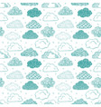 seamless background with green doodle clouds can vector image vector image