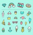 set cute cartoon stickers vector image vector image