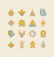 set of christmas design stylish decorative icons vector image vector image