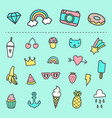 set of cute cartoon stickers vector image vector image