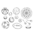 Sketched balls hockey puck and darts items vector image vector image