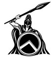 spartan sign with spear and shield vector image vector image