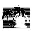 sunset landscape silhouette vector image vector image