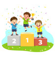 three boys with medals on winners pedestal vector image