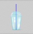 transparent blue plastic empty cup for soda or vector image