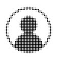 user portrait halftone dotted icon vector image