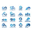 wave logo graphic symbols ocean or flowing sea vector image