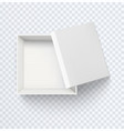white empty box top view realistic half open vector image vector image