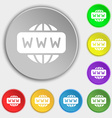 WWW icon sign Symbol on eight flat buttons vector image