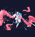 young astronaut vs dangerous alien tentacles vector image