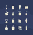 cosmetis silhouettes and line icons vector image