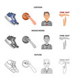 basketball and attributes cartoonoutline vector image vector image