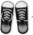 black sneakers youth urban sports shoes fashion vector image