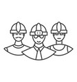 builders team line icon sign vector image vector image