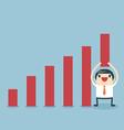 Businessman lifting increase graph vector image vector image