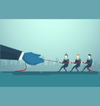 businesspeople group two team pulling rope vector image vector image