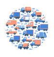 cargo transportation round concept with different vector image vector image