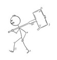 cartoon angry man or businessman walking vector image vector image