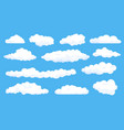 cartoon fluffy white clouds on summer blue sky vector image vector image