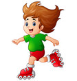 cartoon girl playing roller skates vector image
