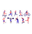 cartoon people sport activities trendy flat vector image