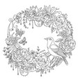 coloring flowers and birds 1 vector image vector image