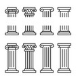 columns line icon set ancient architecture pillars vector image vector image