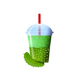 cucumber smoothies in a cup superfoods and health vector image vector image