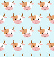 cute cow seamless pattern funny background for vector image vector image